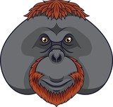 Cartoon orangutan head mascot - 237105366