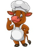 Cartoon happy cow chef giving thumbs up - 237105756