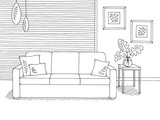 Living room graphic black white home interior sketch illustration vector - 237106786