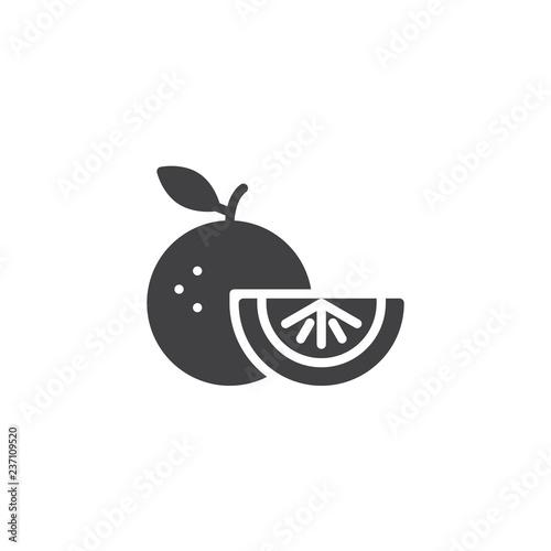 Ikona wektor pomarańczowe owoce. wypełnione mieszkanie znak dla koncepcji mobilnych i projektowanie stron internetowych. Kromka owoców cytrusowych proste stałe ikona. Symbol, ilustracja logo. Doskonała grafika wektorowa pikseli