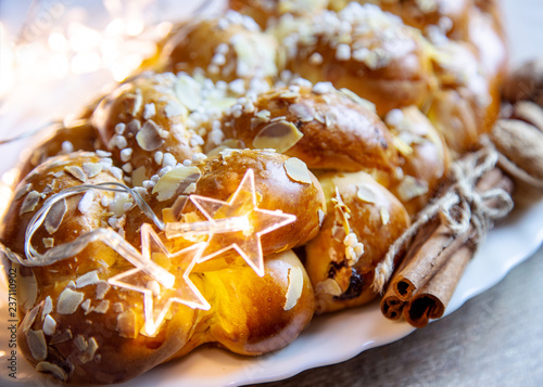 Czech christmas time and customs - bohemian cuisine and typical pastry Vánočka - traditional meal prepared for festive dinner