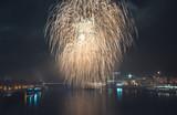 New Year Celebration. Fireworks on Danube River in Bratisalva, Slovakia