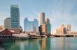 Boston Skyline and Harbor at Dusk