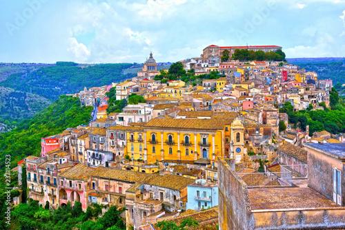 panorama of Ragusa Sicily Italy - 237114523