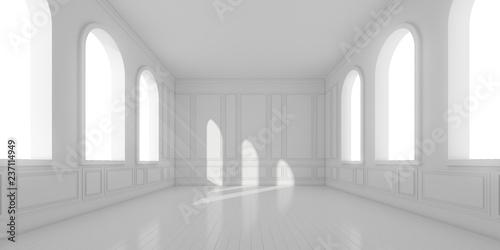 3D pobudzają puste białe pomieszczenie z podłogą z desek i światła słonecznego rzucają cień okna łukowego na klasyczną ścianę, Perspektywa minimalistycznej architektury, renderowanie 3d