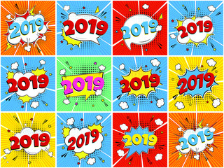 2019 happy new year christmas comic pop art speech bubble set vector illustration. Colorful pop art style sound effect. Halftone, vintage comic sound effects isolated on rays background.