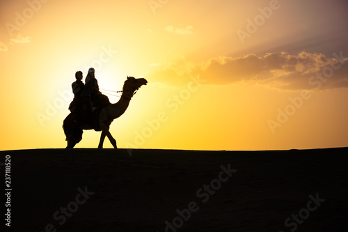 fototapeta na ścianę touriste sur dromadaire dans le désert