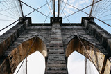 Low angle view of Brooklyn Bridge in New York © jjfarq