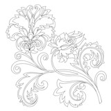 vector contour of fantasy flower with ornaments - 237124794