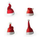 Set of Naturalistic 3D version of Santa Claus hat. Vector Illustration