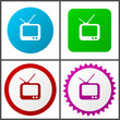 Tv red, blue, green and pink vector icon set. Web icons. Flat design signs and symbols easy to edit