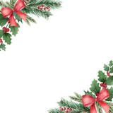 Watercolor vector Christmas wreath with green fir branches and red bow. - 237132547