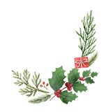 Christmas vector composition with green fir branches isolated on white background. - 237132584