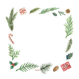 Watercolor vector Christmas frame with fir branches and place for text. - 237132734