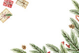 Watercolor vector Christmas banner with fir branches and place for text. - 237132799