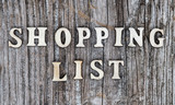 inscription shopping list in English in wooden letters on an old wooden Board - 237133924