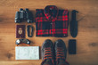 Hiker accessories knolling concept