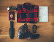 Flat lay of hiker accessories