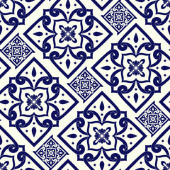 Portuguese tile pattern seamless vector with vintage ornaments. Portugal azulejos, mexican talavera, italian sicily majolica, delft dutch, spanish ceramic. Mosaic texture for kitchen or bathroom.