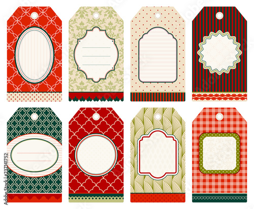 8 Retro Christmas Hangtags Beige/Red/Green - 237141752