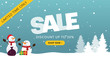 Santa's Christmas sale horizontal advertising banner. Ready for social media