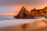 Beautiful sunrise light at Bingie Beach with soft motion flows