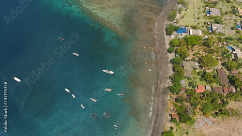 Lagoon with turquoise water and the beach in the sea bay aerial view tropical landscape, sea, boats on the surface of the water. Bali,Indonesia, travel concept. - 237145376
