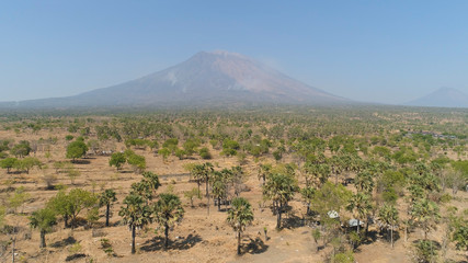 Aerial view volcano mount Agung Bali, Indonesia. tropical landscape savanna with low trees at foot volcano. Rural mountain landscape.