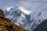 Close-up view of snowcapped summit in Annapurna range, Himalayas of Nepal - 237149335