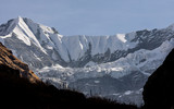 Gangapurna glacier and snowcapped mountains in Himalayas, Nepal - 237149389