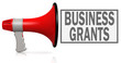 Business grants word with red megaphone
