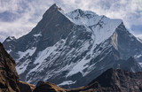 Impressive front view of Fish Tail Summit ( Machapuchare)  in the Himalayas of Nepal, Annapurna Range - 237149570