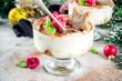 Leinwanddruck Bild - Christmas dessert idea, Gingerbread Tiramisu Trifle Parfaits woth fresh raspberry and mint leaves. copy space