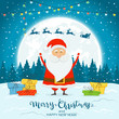 Santa Claus on Winter Background with Gifts and Deer - 237158515