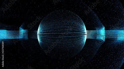 3d render technology partical background. Abstract particle form with sphere form in the center.....