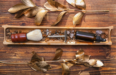 Composition with shaving accessories on wooden background, flat lay