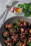 Glazed mushrooms in soy sauce. Vegan snack. Healthy food