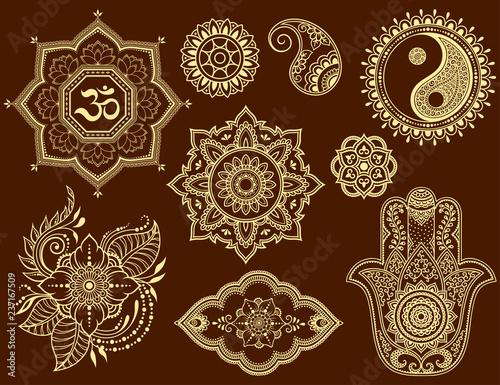 Big Set Of Mehndi Flower Pattern Lotus Mandala Mantra Om Yin