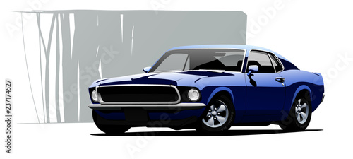 Muscle car. Vector illustration. - 237174527