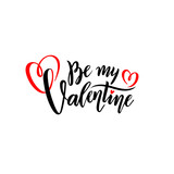 Vector romantic handwritten lettering Be my Valentine. Calligraphic Isolated text for Happy Valentine's Day with hearts