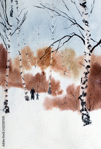 winter walk in the park - 237187591