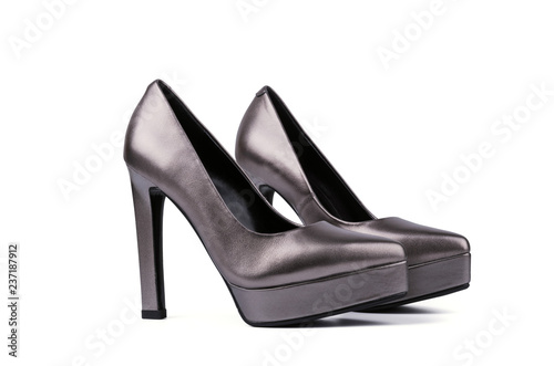 566a9716e88 Silver woman shoes with high heels on white background