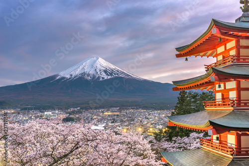 Leinwanddruck Bild Fujiyoshida, Japan view of Mt. Fuji and Pagoda