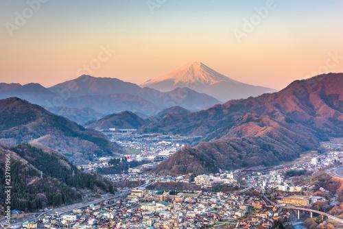 Otsuki, Japan Skyline with Mt. Fuji.
