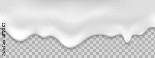 obraz lub plakat Seamless white creamy drips. Realistic vector illustration.