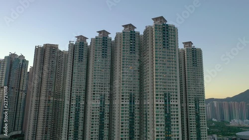 Plakat Aerial view of crowded Hong Kong residential buildings