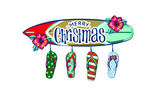 merry christmas and a happy new year in a warm climate design tropical Christmas, Holiday greeting card with, Christmas decoration in tropical style, Christmas style sandals on the beach - 237210781