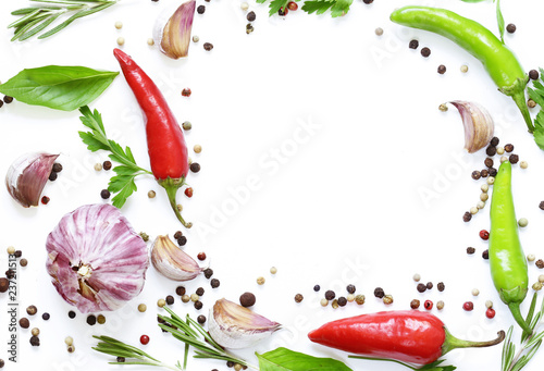 Food background, herbs and spices on white background