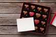 Heart shaped chocolate in box and card - 237211766