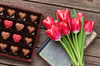 Red tulip flowers and chocolate box